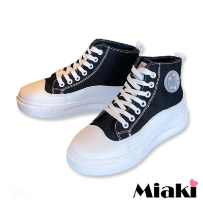 Miaki-帆布鞋韓式設計加厚休閒鞋-黑
