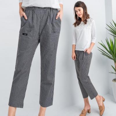 【白鵝buyer】直紋小資女顯瘦七分褲(2色可選)