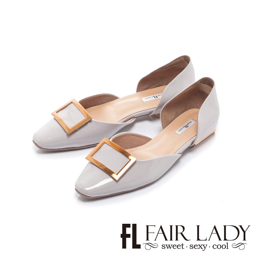 FAIR LADY  優雅小姐 金屬方釦漆面平底鞋 槿紫