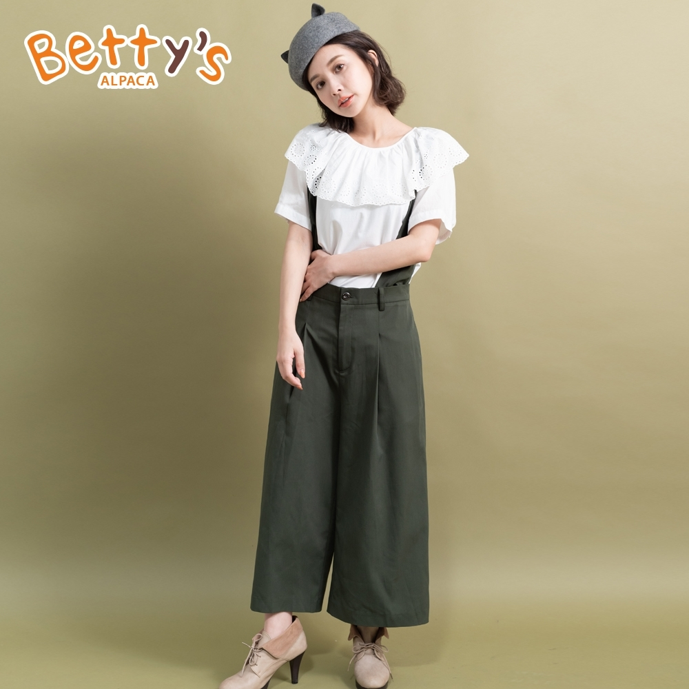 betty's貝蒂思 可拆式吊帶寬褲(深綠色)