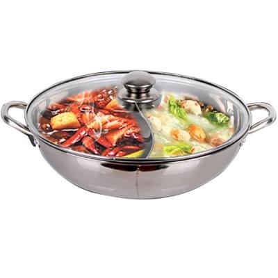 晶輝鍋具-家用電磁爐不鏽鋼鴛鴦鍋雙耳加厚火鍋專賣店販售36公分(含鍋蓋) F1011-36