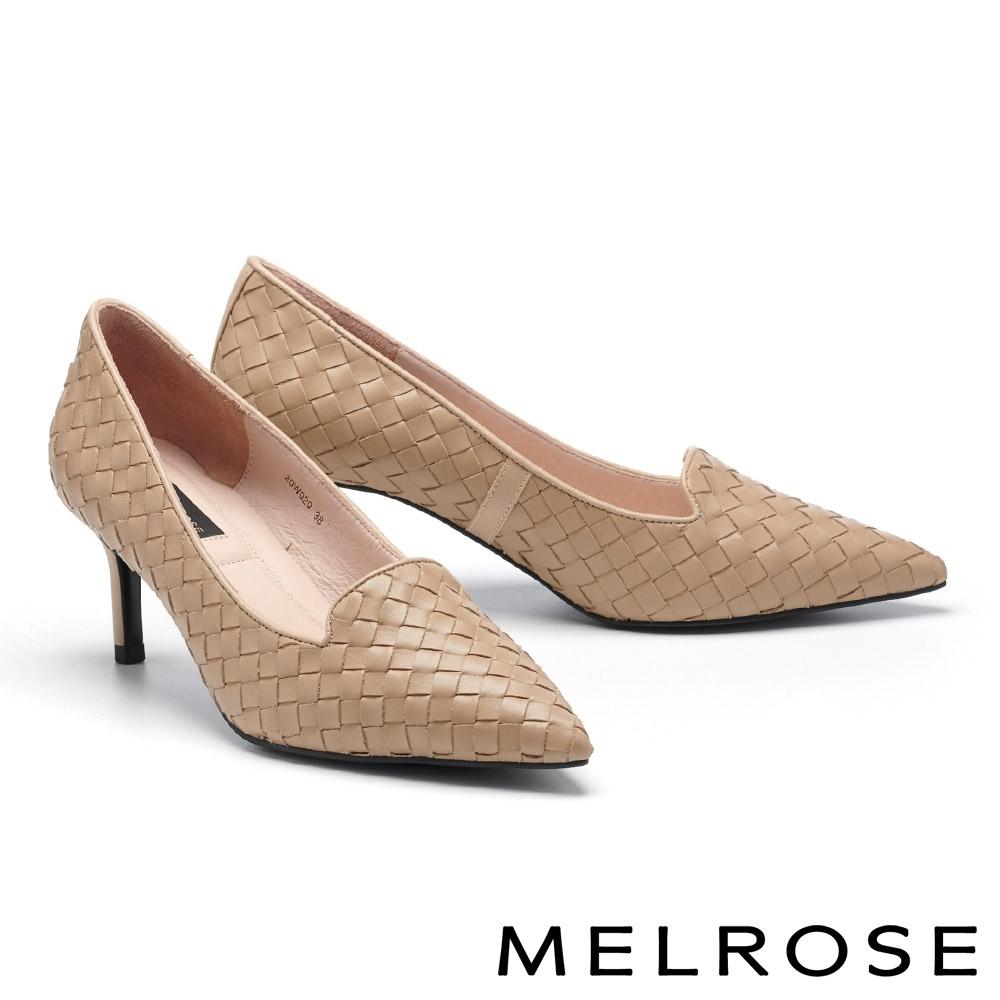 高跟鞋 MELROSE 復古典雅編織牛皮格紋造型尖頭高跟鞋-米