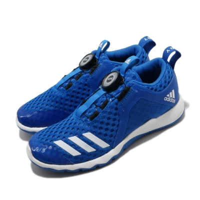 adidas 運動鞋 RapidaFlex BOA 女鞋 愛迪達 三線 旋鈕式鞋帶收放 中大童 藍 白 FW6141