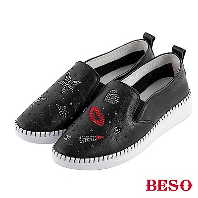 BESO 嗆辣女孩 燙鑽手工縫線休閒鞋~黑