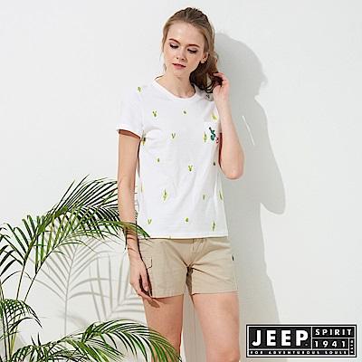 JEEP 女裝 仙人掌造型印花短袖TEE-白