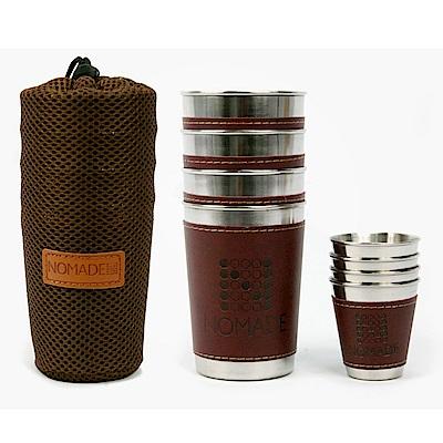 NOMADE便攜不鏽鋼皮標杯套組不鏽鋼環保杯8入組4大4小附收納袋