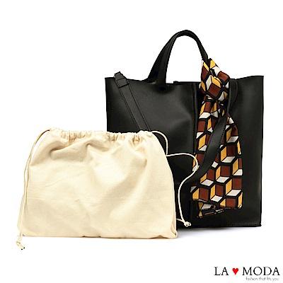 La Moda 簡約經典高質感絲巾緞帶裝飾肩背手提托特子母包(黑)