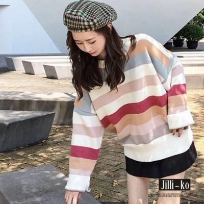 JILLI-KO 慵懶風條紋撞色短版微高領針織上衣- 卡其
