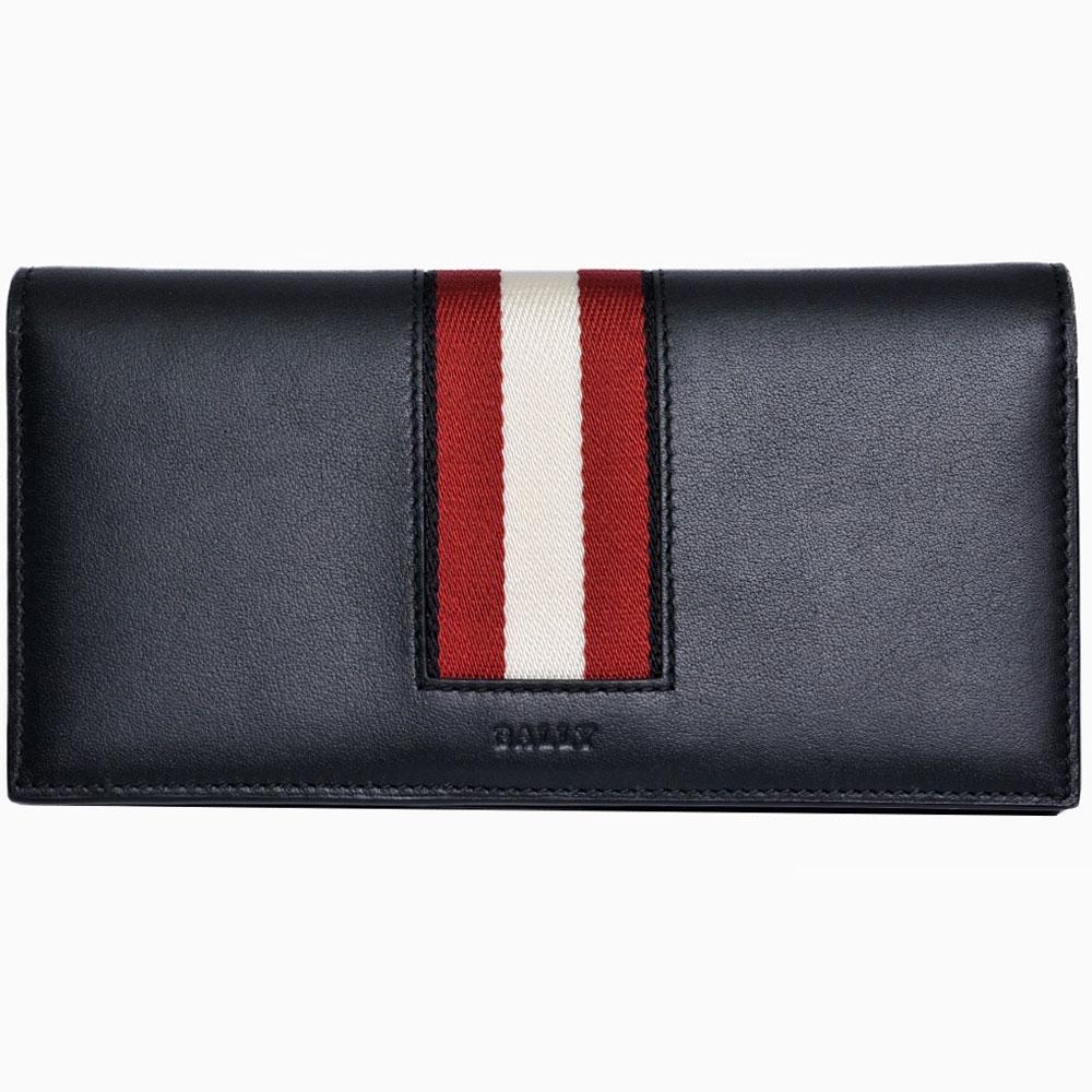 BALLY BALIRO.HP 高質感牛皮字母LOGO紅白紅織布對開拉鍊零錢長夾(黑色)