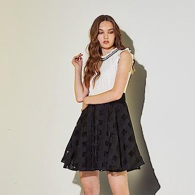 Ribbon 時尚小立領3D蕾絲雕花拼接格紋印花造型禮服洋裝-白(共2色)