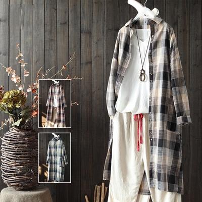 文藝中長版棉麻格子襯衫外搭休閒開衫-設計所在
