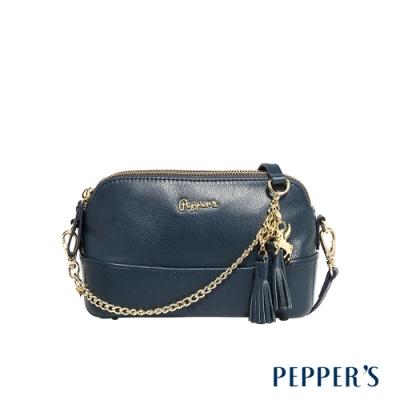 PEPPER S Ellie 羊皮雙拉鍊小包 - 星空藍
