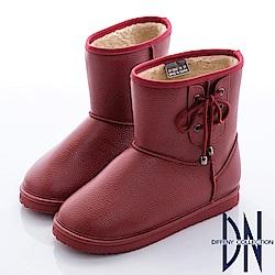 DN 愛上雨天 暖心內刷毛側蝴蝶結雨靴-紅
