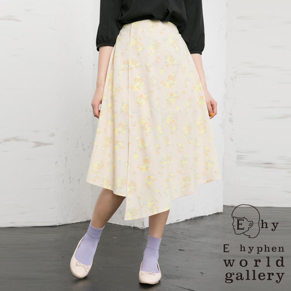 E hyphen 不規則下襬剪裁花朵圖案打印中長裙