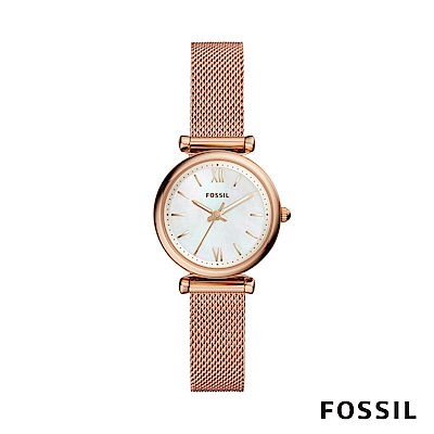 FOSSIL CARLIE MINI 迷你奢華女錶-玫瑰金 約28mm ES4433