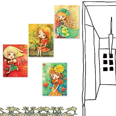 橙品油畫布 四聯式插畫風無框畫-女孩系列2 30x40cm
