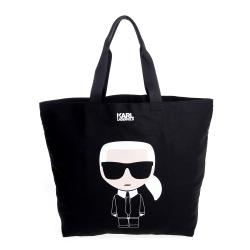 KARL LAGERFELD 卡爾Q版帆布黑色購物袋