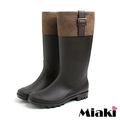 Miaki-雨天首推時尚百搭拼色雨靴-咖啡