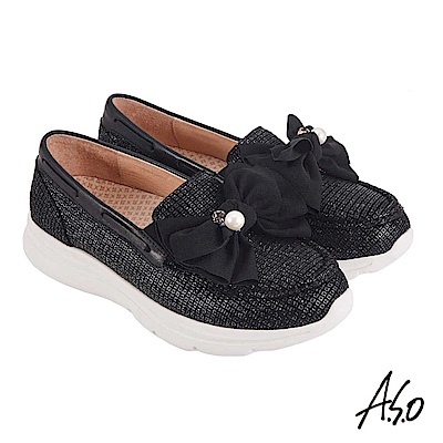 A.S.O機能休閒 萬步健康鞋 蝴蝶結金箔皮料休閒鞋-黑