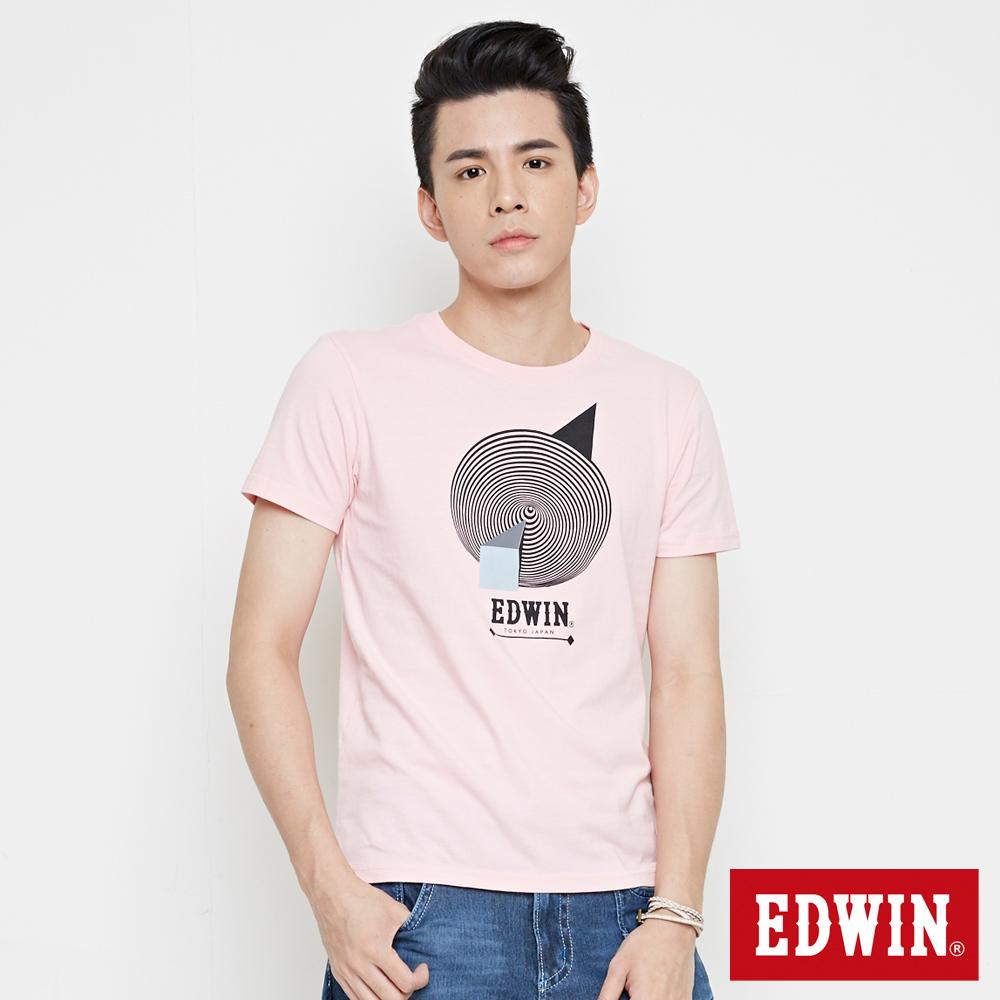 EDWIN 幾何圓形印花短袖T恤-男-淺粉紅