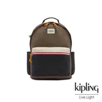 Kipling 中性黑茶色佐小麥色抽繩拉鍊後背包-DAMIEN
