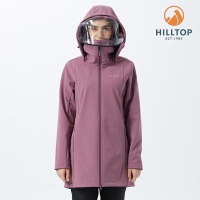 【hilltop山頂鳥】女款ViralOff抗菌防水長版刷毛防護外套H21F21 紅