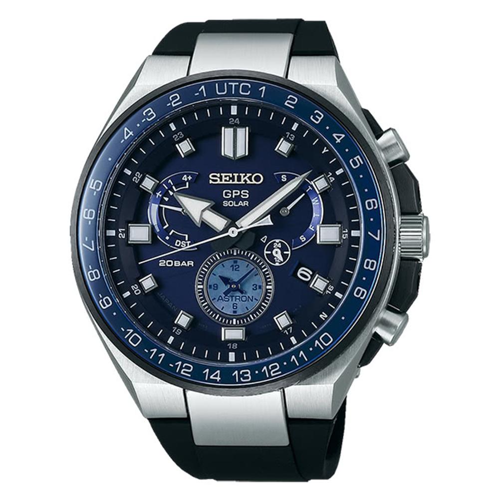 SEIKO 精工ASTRON雙時區鈦GPS衛星定位腕錶-深藍SSE167J1