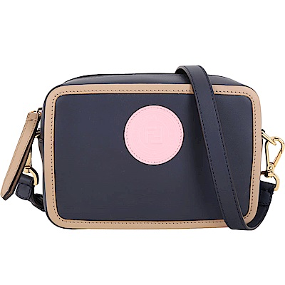 FENDI Stamp 圓型標章撞色小牛皮手拿肩背相機包(黑色)