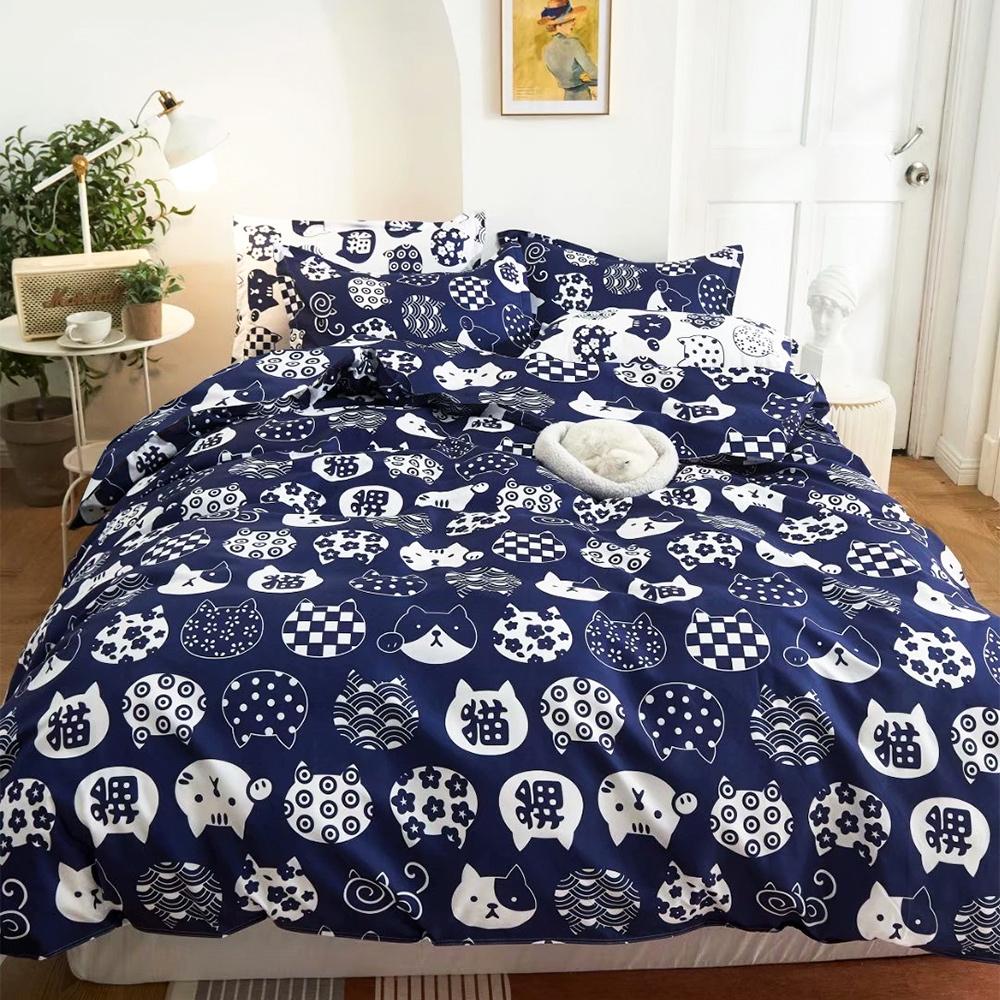 A-ONE 雪紡棉 單人床包/四季被 三件組-多款任選 (和風貓)
