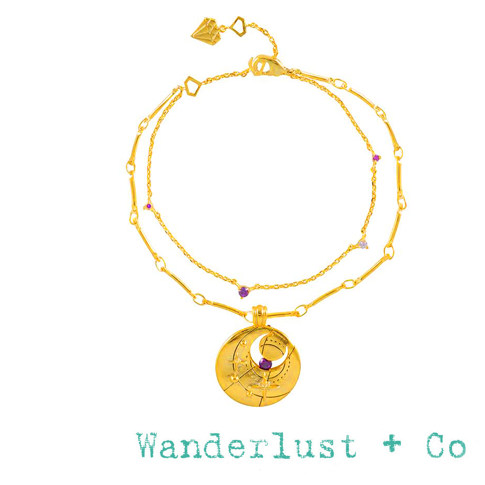 Wanderlust+Co 澳洲品牌 二月誕生石手鍊 鑲鑽金色手鍊