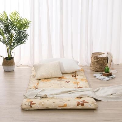 LAMINA 花之藝100%精梳棉日式床墊5cm-米(單人)