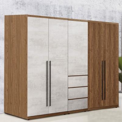 D&T 德泰傢俱 DINO清水模風格6.8尺單吊+雙吊+三抽衣櫃-205x57x202cm