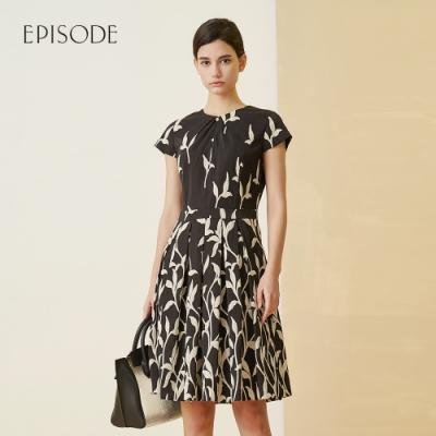 EPISODE - 立體刺繡復古優雅褶皺短袖蓬蓬洋裝(黑)