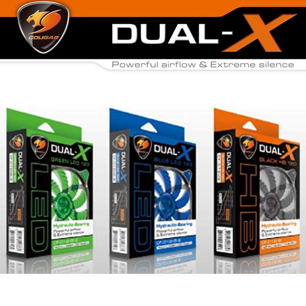 COUGAR 美洲獅 DUAL-X 酷炫風 LED燈 12cm散熱風扇 (扇葉雙層加厚)