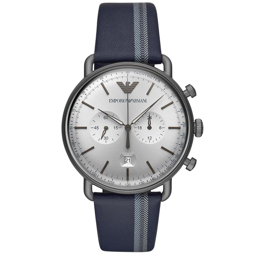 Emporio Armani 亞曼尼 計時真皮手錶(AR11202)-銀X藍/43m