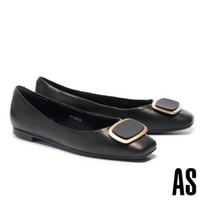 低跟鞋 AS 金屬風雙色橢圓方釦全真皮方頭低跟鞋-黑