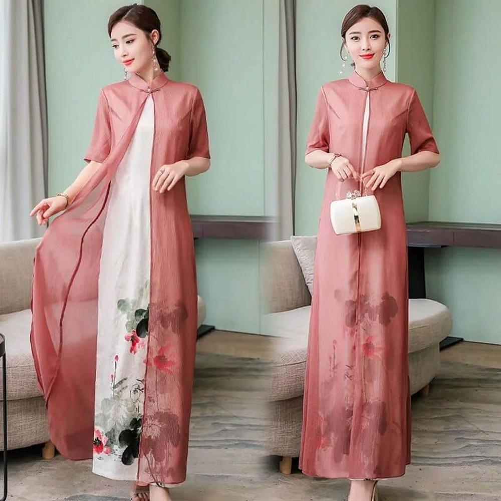 典雅飄逸旗袍領改良式拚接中國風水墨印花洋裝M-3XL-REKO
