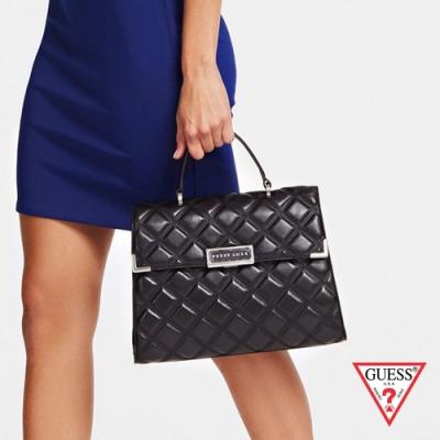 GUESS-女包-菱格紋時尚梯形手提包-黑