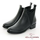 【CUMAR】中性之美V型口雀爾西率性短靴-黑色