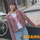 翻領金屬拉鍊短版騎士外套 (共二色)-ROANN