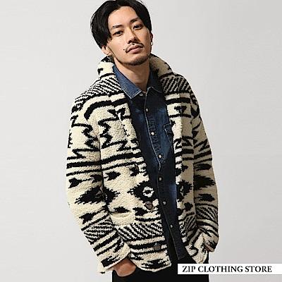 民族風圈圈紗開襟外套(5色) ZIP日本男裝