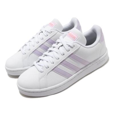 adidas 休閒鞋 Grand Court 復古 低筒 女鞋 愛迪達 皮革鞋面 基本款 穿搭 白 紫 FX3446