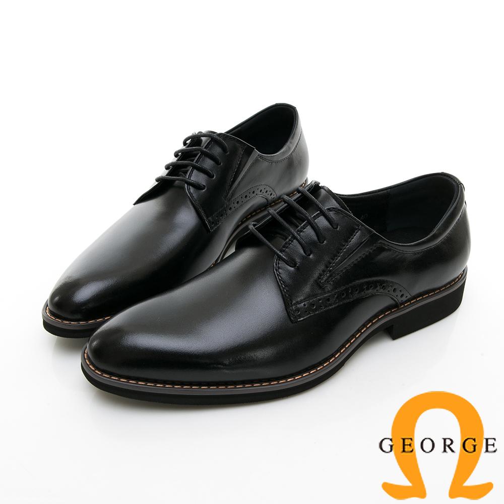 【GEORGE 喬治皮鞋】輕量系列 舒適綁帶柔軟紳士皮鞋-黑色