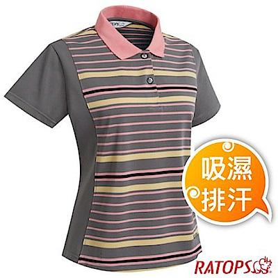 瑞多仕 女款 COOLMAX 輕量透氣短袖條紋POLO衫_DB8952