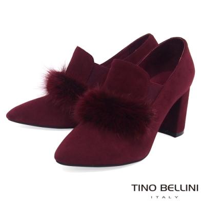 Tino Bellini優雅貂毛高跟踝靴_酒紅