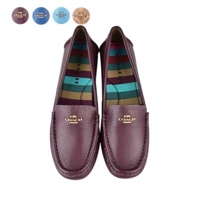 COACH Marley Driver金/銀字馬車LOGO牛皮/PVC平底鞋(四色)