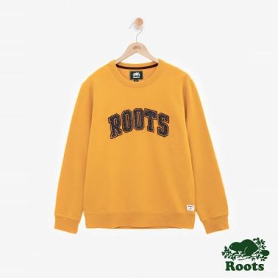 ROOTS男裝 - 雪尼爾LOGO刷毛圓領上衣-黃
