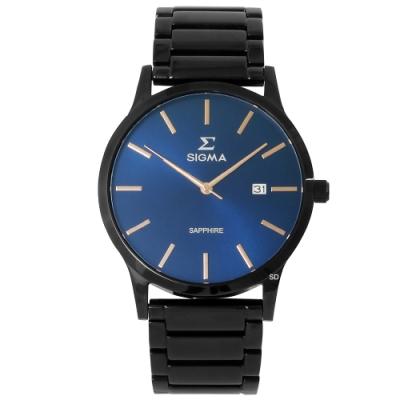 SIGMA 簡約藍寶石時尚手錶男錶-藍X黑/41mm