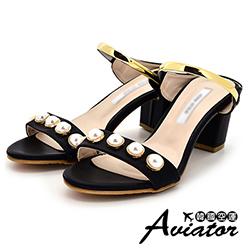Aviator韓國空運-正韓製優雅珍珠金屬粗跟涼跟鞋-黑