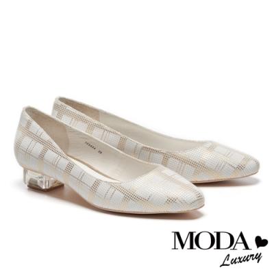 低跟鞋 MODA Luxury 復古清新格紋透明造型低跟鞋-金格
